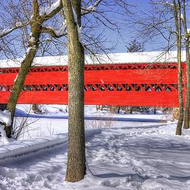 Michael Mazaika - Pennsylvania Country Roads - Sachs Covered Bridge Over Marsh Creek - Adams County Winter