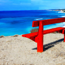 Bruce Nutting - Red Bench on the Beach