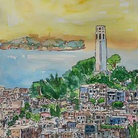 M Bleichner - San Francisco Dusk Sunset Over Coit Tower And Alcatraz Telegraph Hill