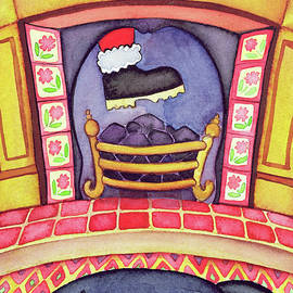Santa Arriving Down the Chimney - Cathy Baxter