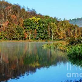 Thomas R Fletcher - Autumn Mist on Lake