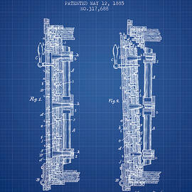 Aged Pixel - 1885 Bank Safe Door Patent - blueprint