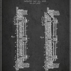 Aged Pixel - 1885 Bank Safe Door Patent - charcoal