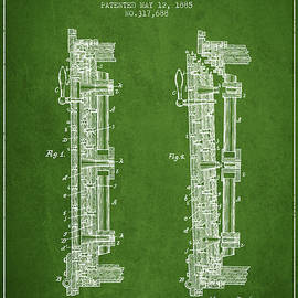 Aged Pixel - 1885 Bank Safe Door Patent - green