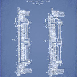 Aged Pixel - 1885 Bank Safe Door Patent - light blue