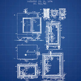 Aged Pixel - 1894 Bank Safe Patent - blueprint