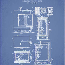 Aged Pixel - 1894 Bank Safe Patent -light blue
