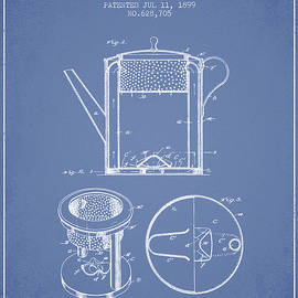 Aged Pixel - 1899 Coffee Pot patent -  light blue