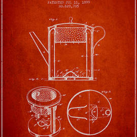 Aged Pixel - 1899 Coffee Pot patent - red