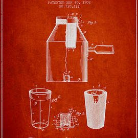 Aged Pixel - 1902 Coffee maker patent - red