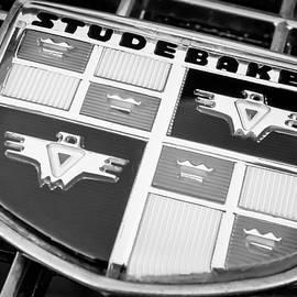 1957 Studebaker Golden Hawk Emblem -0393bw - Jill Reger