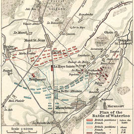 Map of the Battle of Waterloo - English School