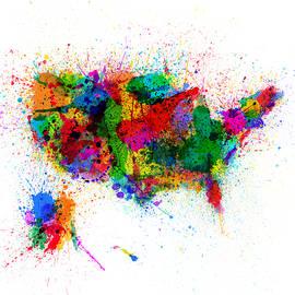 United States Paint Splashes Map - Michael Tompsett