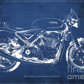 2012 Norton Commando 961 Cafe Racer Motorcycle Blueprint - Blue Background
