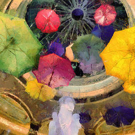 Akos Horvath - Abstract view about a  lot of colorful umbrellas. Abstract visual art for home decor wall art