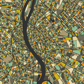 BUDAPEST MAP - Jazzberry Blue