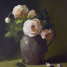 Kathryn Donatelli - 3 Roses in Silver Pitcher