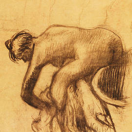 After the Bath, Woman drying herself - Edgar Degas