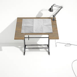 Drafting Desk Lamp And Paper - Allan Swart