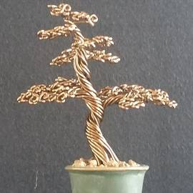 Ricks  Tree Art - #64 Bronze wire tree sculpture in a Ken To pot