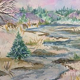 Ellen Levinson - A Country Winter - Deer and Black Bear