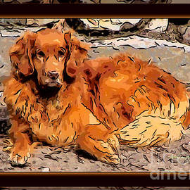 Omaste Witkowski - A Golden Retriever Resting Abstract Dog Art