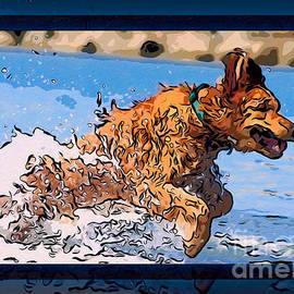 Omaste Witkowski - A Golden Retriever Splashing Abstract Dog Art