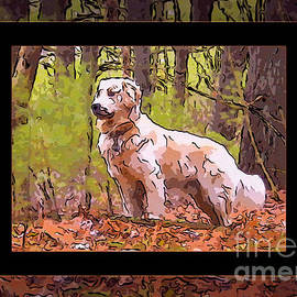 Omaste Witkowski - A Golden Retriever Standing Proud Abstract Dog Art