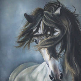 Catalina Diaz -  Wild  White Horse in Blue Background