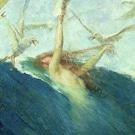 A Mermaid Being Mobbed by Seagulls - Giovanni Segantini