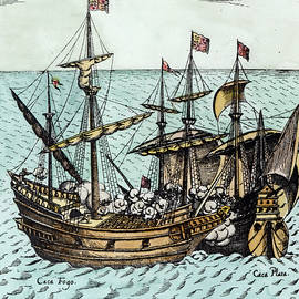 A Spanish Treasure Ship Plundered by Francis Drake - Dutch School