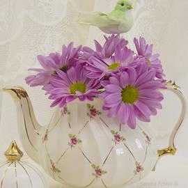 Sandra Foster - A Tea Pot Of Pink Daisies