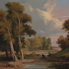 A Wooded River Landscape with Fishermen - James Arthur O