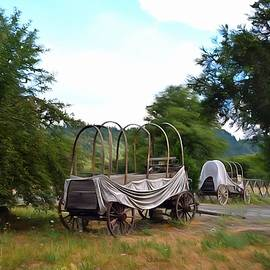Barbara Snyder - Abandoned Cover Wagons Painting