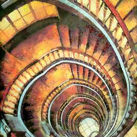Akos Horvath - Abstract architecture spiral staircase.  Home Decor Wall Art Digital Painting Print  by Akos Horvath