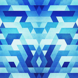 Philipp Rietz - Abstract geometric triangle pattern futuristic future symmetry in ice blue