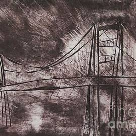 Marina McLain - Abstract Golden Gate Bridge Dry Point Print Cropped