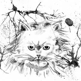 Michelle Wrighton - Abstract Ink - Black and White Persian Cat