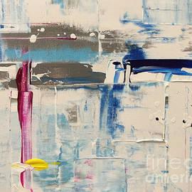 John Avery - Abstract No. 129 - Bianco con Blu Rosso e Giallo