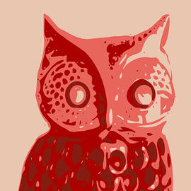 Keshava Shukla - Abstract Owl Contours Red