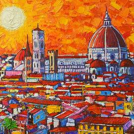 Ana Maria Edulescu - Abstract Sunset Over Duomo In Florence Italy