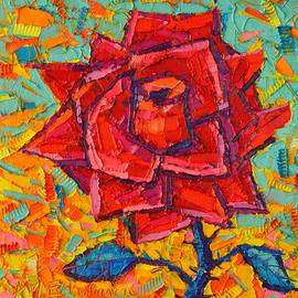 Ana Maria Edulescu - Abstract Wild Rose - Modern Impressionist Palette Knife Oil Painting By Ana Maria Edulescu