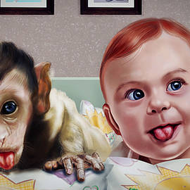 Arun Sivaprasad - Baby And The Monkey Adorable Portrait