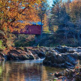 Jeff Folger - Afternoon autumn sun on Vermont covered bridge