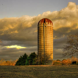 Reid Callaway - Afternoon Sunset Glow Rustic Silo Farm Art
