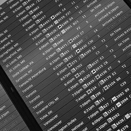 Steve Gadomski - Airport Arrival Board B W