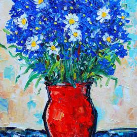 Ana Maria Edulescu - Albastrele Blue Flowers And Daisies