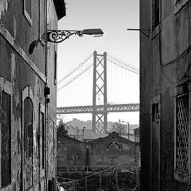 Carlos Caetano - Alley and bridge over Tagus, Lisbon