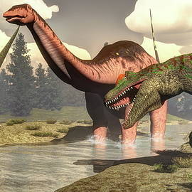 Elenarts - Elena Duvernay Digital Art - Allosaurus hunting big brontosaurus dinosaur - 3D render