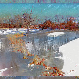 Gretchen Wrede - Amber Orange Tiptoe Steps Across Winter Pond